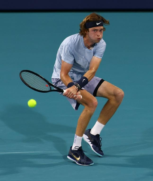 Fourth-seeded Andrey Rublev of Russia on the way to a second-round victory over American Tennys Sandgren at the Miami Open ATP and WTA hardcourt tennis tournament