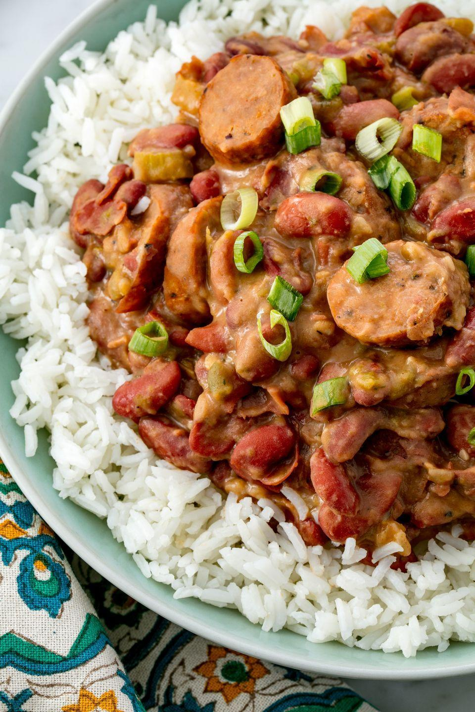 """<p>You don't have to be a ragin' cajun to enjoy these red beans.</p><p>Get the recipe from <a href=""""https://www.delish.com/cooking/recipe-ideas/recipes/a54954/easy-red-beans-and-rice-recipe/"""" rel=""""nofollow noopener"""" target=""""_blank"""" data-ylk=""""slk:Delish"""" class=""""link rapid-noclick-resp"""">Delish</a>.</p>"""