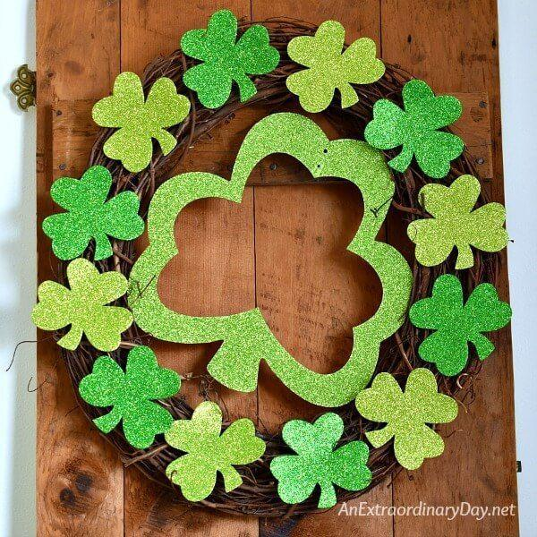 """<p>Décor from the dollar store gets turned into something special here, thanks to the addition of a grapevine wreath. </p><p><strong>Get the tutorial at <a href=""""https://anextraordinaryday.net/how-to-make-a-super-easy-and-simple-shamrock-wreath-st-patricks-day/?utm_medium=social&utm_source=pinterest&utm_campaign=tailwind_smartloop&utm_content=smartloop&utm_term=20348672"""" rel=""""nofollow noopener"""" target=""""_blank"""" data-ylk=""""slk:An Extraordinary Day"""" class=""""link rapid-noclick-resp"""">An Extraordinary Day</a>.</strong></p><p><a class=""""link rapid-noclick-resp"""" href=""""https://go.redirectingat.com?id=74968X1596630&url=https%3A%2F%2Fwww.walmart.com%2Fsearch%2F%3Fquery%3Dgrapevine%2Bwreaths&sref=https%3A%2F%2Fwww.thepioneerwoman.com%2Fhome-lifestyle%2Fcrafts-diy%2Fg34931626%2Fst-patricks-day-decorations%2F"""" rel=""""nofollow noopener"""" target=""""_blank"""" data-ylk=""""slk:SHOP GRAPEVINE WREATHS"""">SHOP GRAPEVINE WREATHS</a><br></p>"""