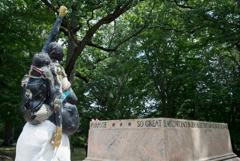 """In Baltimore, the Robert E. Lee and Thomas J. """"Stonewall"""" Jackson monument base remains, but the statues are gone"""