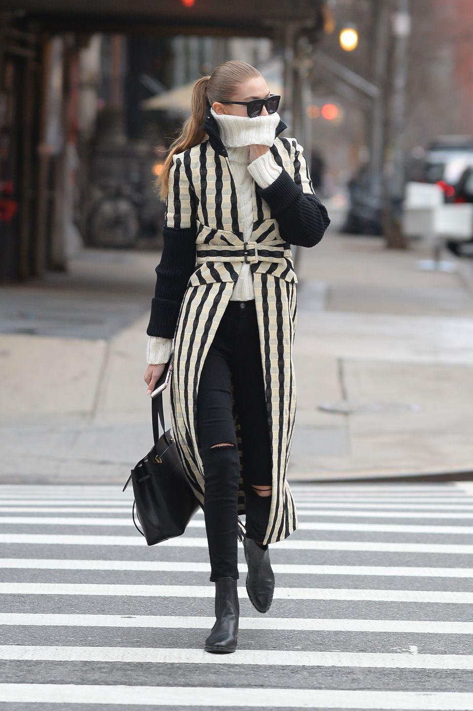 <p>All-over stripes are an easy way to spiced up a black/white/gray wardrobe. The look is classic, but totally non-boring. </p>