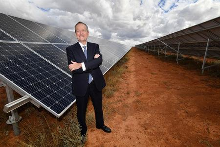 Australian Opposition Leader Bill Shorten is seen at the Southern Sustainable Electric solar farm in Whyalla in South Australia, Australia, May 1, 2019. AAP Image/Darren England/via REUTERS