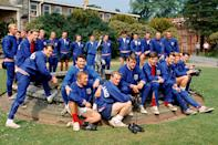 The possible members of England's World Cup squad gather around a fountain at Lilleshall: (standing, l-r) Bobby Moore, Ian Callaghan, Jack Charlton, Peter Bonetti, Gordon Banks, Gordon Milne, Ron Flowers, John Connelly (leaning), Bobby Charlton, Jimmy Armfield, Nobby Stiles, trainer Les Cocker, coach Wilf McGuinness, Norman Hunter, trainer Harold Shepherdson, Gerry Byrne, George Cohen, Ron Springett; (sitting, l-r) Johnny Byrne (back), Peter Thompson, George Eastham, Geoff Hurst, Martin Peters, Keith Newton, Alan Ball, Terry Paine (Photo by PA Images via Getty Images)