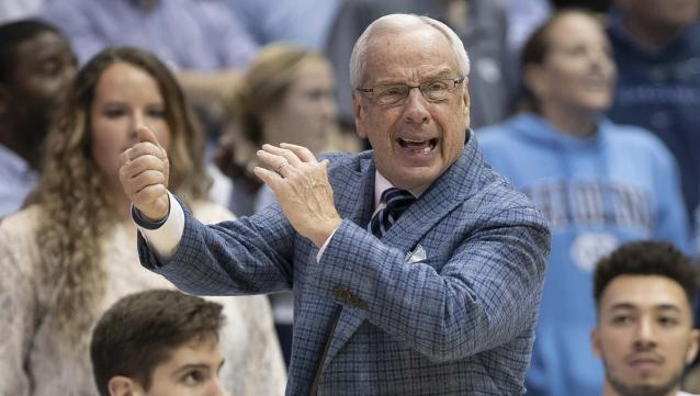 Coach Roy Williams and his North Carolina team have struggled to an 8-8 record this season. (Robert Willett/The News & Observer via AP)