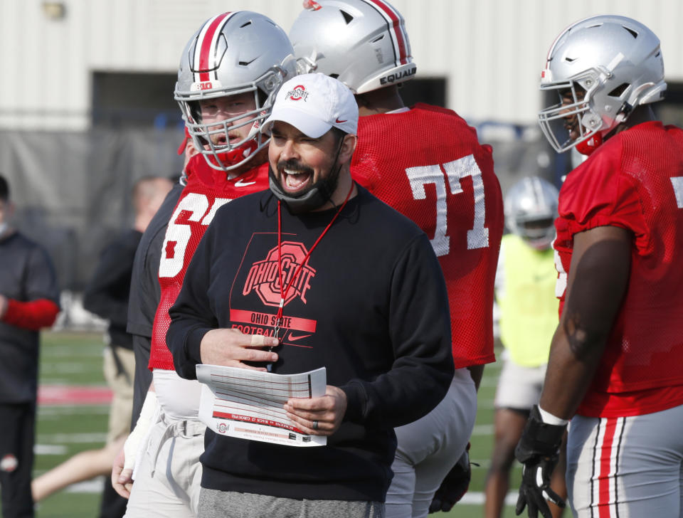 Ohio State coach Ryan Day is seen during a college football practice on April 5, 2021. Day is 23-2 in his first two seasons since taking over for Urban Meyer. (AP)