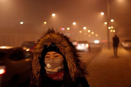 A woman wears a face mask in the part of the city near neighbourhoods known for burning coal for heating in Ulaanbaatar, Mongolia January 26, 2017. Not many people in Ulaanbaatar wear masks to protect themselves against pollution. REUTERS/B. Rentsendorj