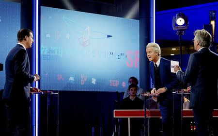 Dutch far-right politician Geert Wilders of the PVV party attends a debate in The Hague