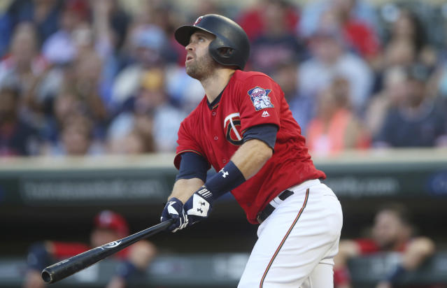 Minnesota Twins' Brian Dozier bats against the Tampa Bay Rays in the first inning of a baseball game Friday, July 13, 2018, in Minneapolis. (AP)