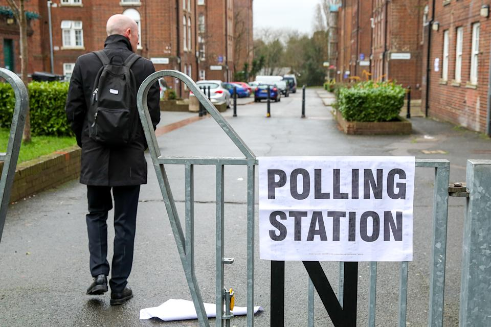A voter enters a polling station in North London. Polling stations have opened as the nation votes to decide the next UK government in a general election. It's the 3rd election in under 5 years. (Photo by Dinendra Haria / SOPA Images/Sipa USA)