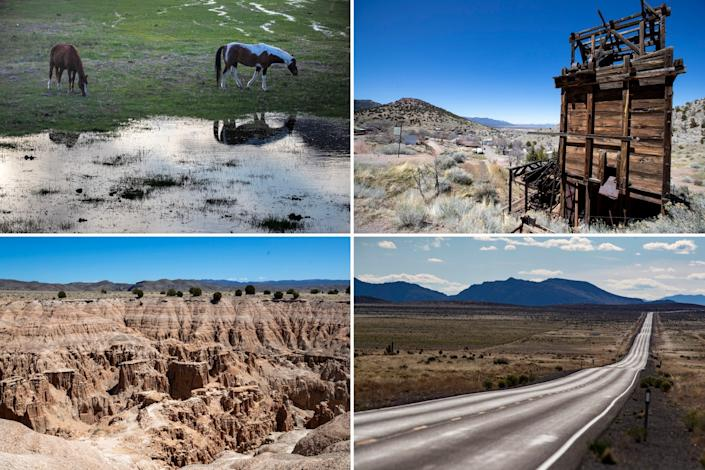 Clockwise from top left: Horses graze in a field along Highway 93 in Alamo, Nev.; the 1920s-era Pioche Mines Co.'s aerial tramway carried ore from the mines down Treasure Hill in Pioche; a desolate Highway 93 stretches for miles through the Delamar Valley; and eroded sandstone cliffs at Cathedral Gorge State Park on Highway 93 in Pioche.