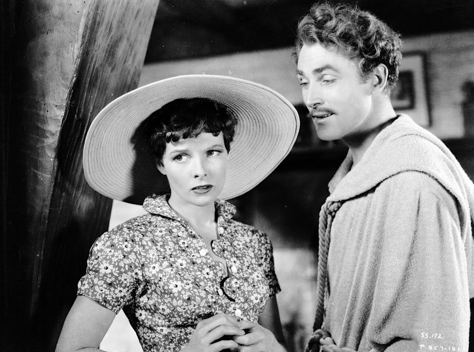 """Hepburn, seen here with Brian Aherne in a still from the 1935 film """"Sylvia Scarlett."""""""