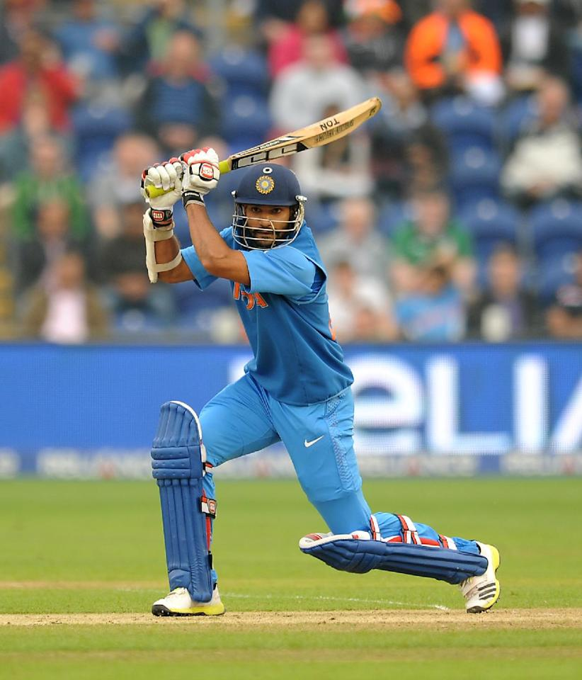 India's Shikhar Dhawan bats during the ICC Champions Trophy, Semi Final at the SWALEC Stadium, Cardiff.