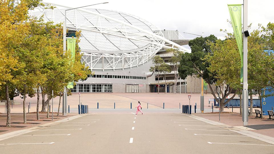 Sydney Olympic Park, pictured here devoid of people amid the coronavirus crisis.