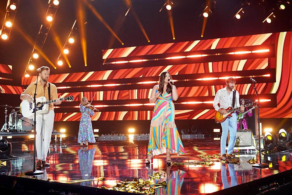 """<p>Charles Kelley, Hillary Scott and Dave Haywood of Lady A performed """"Like a Lady,"""" welcoming Carly Pearce and Lindsay Ell for an empowering collaborative moment featuring The Shindellas on backup. Ell - currently <a href=""""https://people.com/country/cmt-awards-2021-lindsay-ell-broke-foot-chasing-her-dog/"""" rel=""""nofollow noopener"""" target=""""_blank"""" data-ylk=""""slk:recovering from a broken foot"""" class=""""link rapid-noclick-resp"""">recovering from a broken foot</a> - joined the crew after Gabby Barrett bowed out, citing <a href=""""https://people.com/country/cmt-awards-2021-maren-morris-gabby-barrett-back-out-of-performances/"""" rel=""""nofollow noopener"""" target=""""_blank"""" data-ylk=""""slk:&quot;personal circumstances.&quot;"""" class=""""link rapid-noclick-resp"""">""""personal circumstances.""""</a> </p>"""