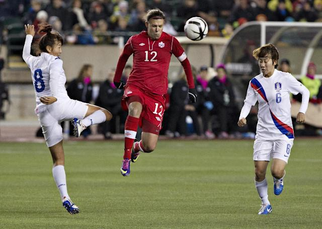 South Korea's So Hyun Cho (8) and Seon Joo Lim (6) try to stop Canada's Christine Sinclair (12) during the second half of an international friendly soccer match, Wednesday, Oct. 30, 2013, in Edmonton, Alberta. (AP Photo/The Canadian Press, Jason Franson)