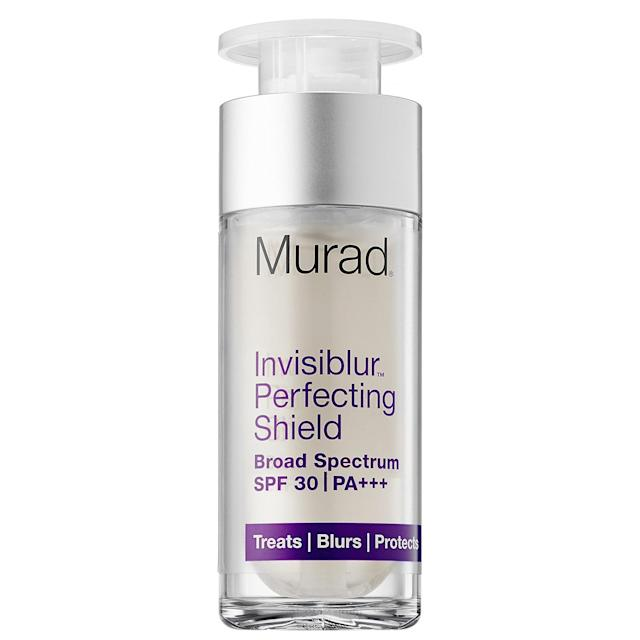 "<p>This sunscreen works to fill in lines, combat signs of aging, and protect against harmful UV rays by using a clear gel formula that makes your skin look airbrushed, even without makeup. <a href=""https://www.murad.com/invisible-sun-protection-visible-skin-perfection/?XID=SEM_GGL_MU_MURA&medium=cpc&source=google&gclid=CJX1otWaidQCFceNswodX1YK9A&gclsrc=aw.ds"" rel=""nofollow noopener"" target=""_blank"" data-ylk=""slk:Murad Invisiblur Perfecting Shield Broad Spectrum SPF 30"" class=""link rapid-noclick-resp"">Murad Invisiblur Perfecting Shield Broad Spectrum SPF 30</a>, $65. (Photo: Murad) </p>"