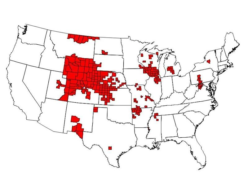 As of January, there were 251 counties in 24 states with reported CWD in free-ranging cervids. Those states are Arkansas, Colorado, Illinois, Iowa, Kansas, Maryland, Michigan, Minnesota, Mississippi, Missouri, Montana, Nebraska, New Mexico, New York, North Dakota, Pennsylvania, South Dakota, Tennessee, Texas, Utah, Virginia, West Virginia, Wisconsin and Wyoming. (CDC)