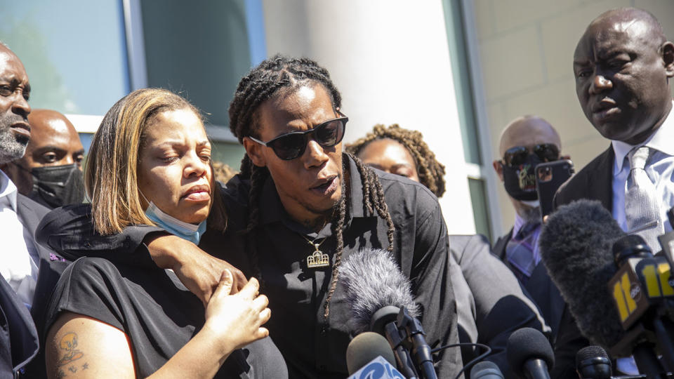 Andrew Brown Jr.'s son Khalil Ferebee, speaks outside the Pasquotank County Public Safety building in Elizabeth City, N.C. on Monday April 26, 2021 after viewing 20 seconds of police body camera video. (Travis Long/The News & Observer via AP)