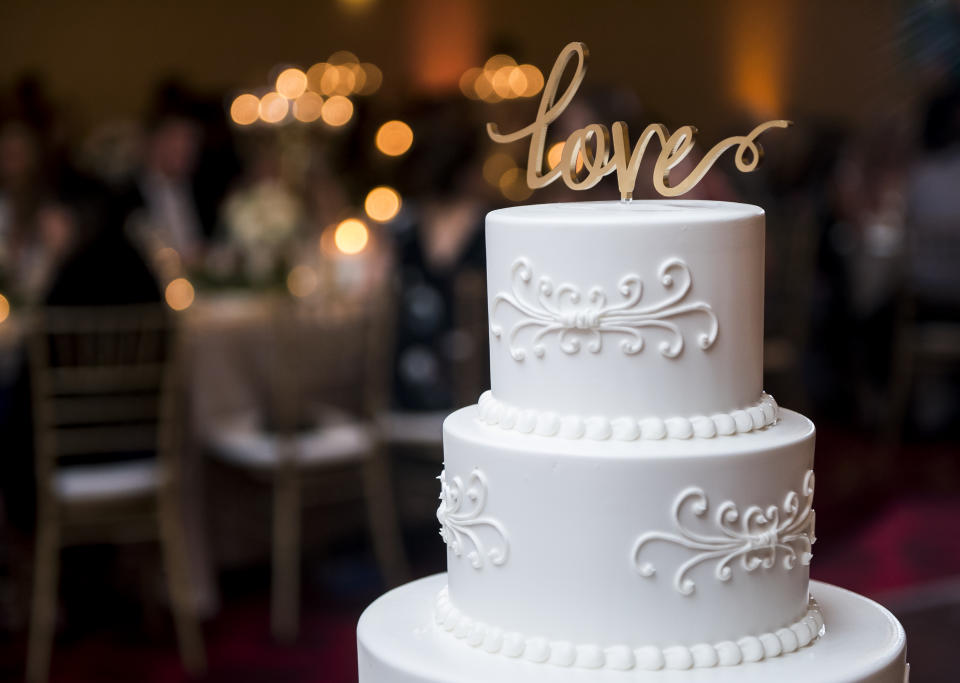 Decorative Large Tall Fancy Wedding Cake with LOVE sign