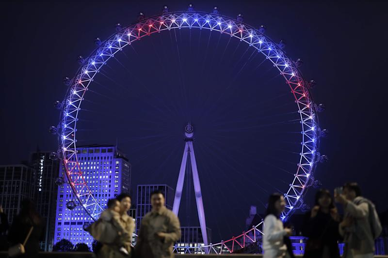 The London Eye is lit up in red, white and blue on May 6, 2019, in honor of the birth of a son to Prince Harry and Duchess Meghan of Sussex.