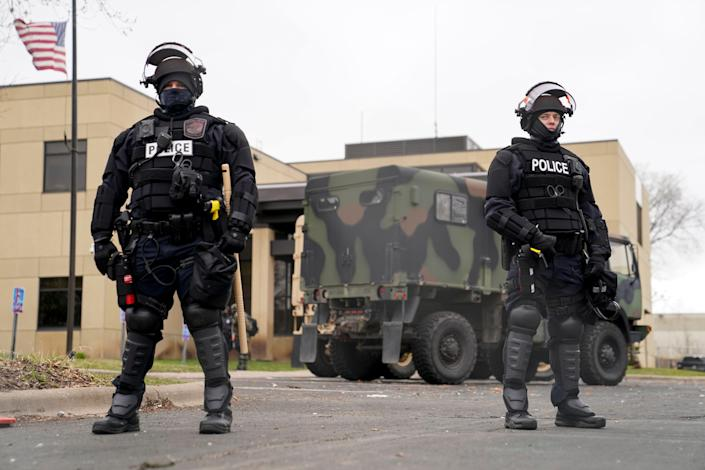 Police are guarding outside the Brooklyn Center police station on Tuesday while police officers shot and killed Dauntelite at the Brooklyn Center in Minnesota over the weekend.