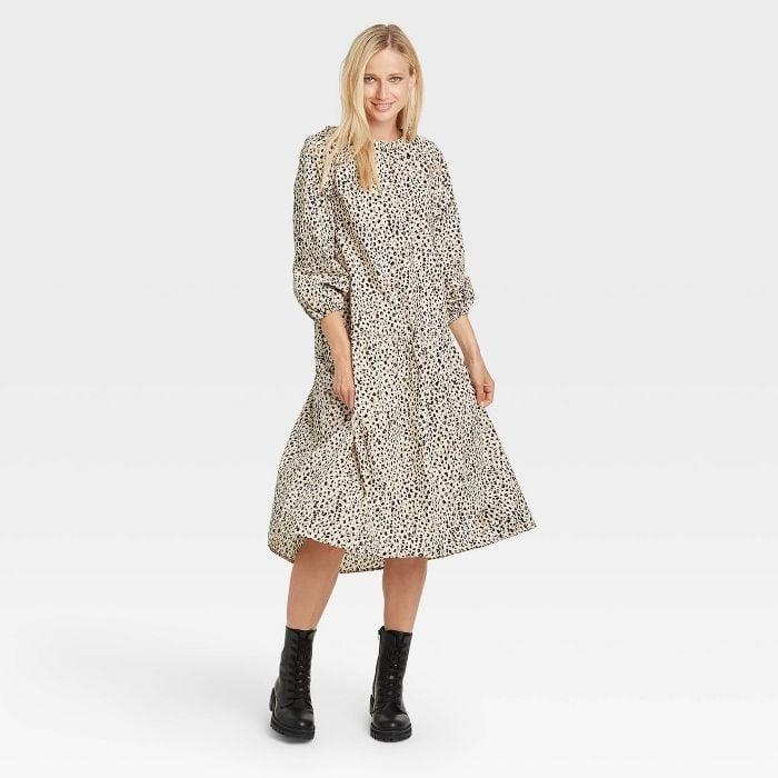 <p>Want to transition this <span>Who What Wear Raglan Long Sleeve High Low Dress</span> ($40) into the cooler fall temperatures? All you need to do is add a moto jacket with a pair of heeled booties.</p>