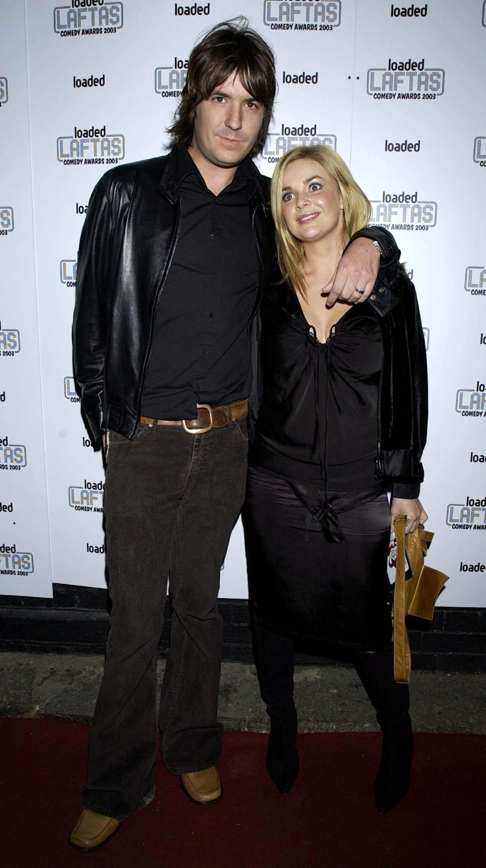 Musician Dan Hipgrave and wife Gail Porter arrive for the Loaded LAFTAS Comedy Awards 2003 at Rouge in Central London.   (Photo by Yui Mok - PA Images/PA Images via Getty Images)