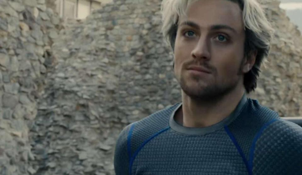 Aaron Taylor-Johnson as Pietro Maximoff in Avengers: Age of Ultron.