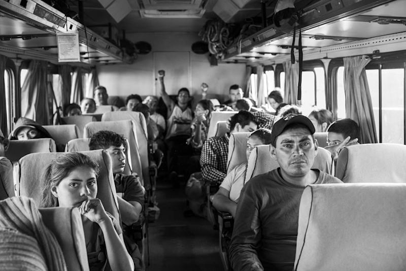"""Migrants from Honduras, El Salvador and Guatamala, also known as """"The Northern Triangle,"""" get on a bus in Navojoa headed for Tijuana. The Mexican government stepped in to provide safe passage across the Narco States of Sonora and Sinaloa after 100 migrants were kidnapped in the state of Puebla."""