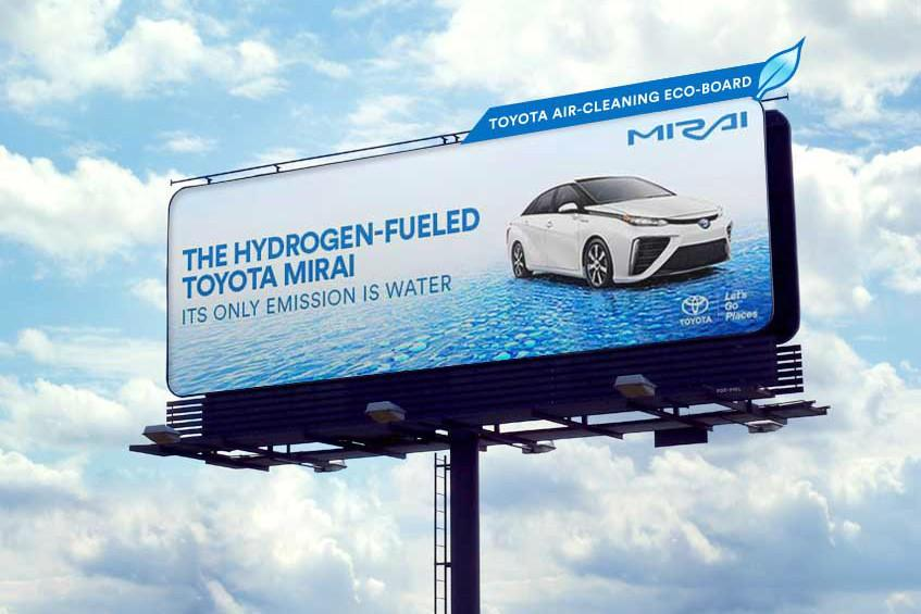 These new eco-billboard in California feature the Toyota Mirai fuel cell electric vehicle and help clean the air and smog around them using something like a catalytic convertor. 37 billboards will be deployed in Los Angeles and San Francisco from April 3 to May 28.