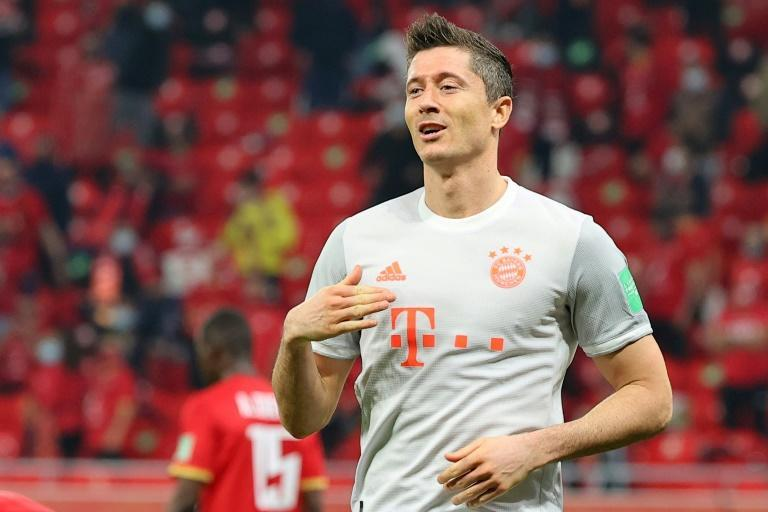 Robert Lewandowski celebrates scoring Bayern Munich's second goal on Monday
