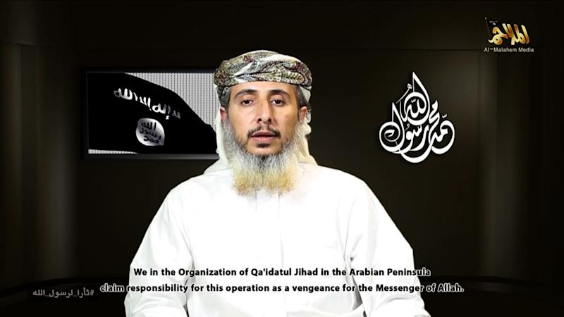 This image grab from a video posted online on January 14, 2015, by Al-Malahem Media, the media arm of Al-Qaeda in the Arabian Peninsula, purportedly shows Nasser bin Ali al-Ansi delivering a video message from an undisclosed location