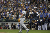 Los Angeles Dodgers relief pitcher Kenley Jansen (74) celebrates after Game 2 of the National League Championship Series baseball game against the Milwaukee Brewers Saturday, Oct. 13, 2018, in Milwaukee. The Dodgers won 4-3. (AP Photo/Jeff Roberson)