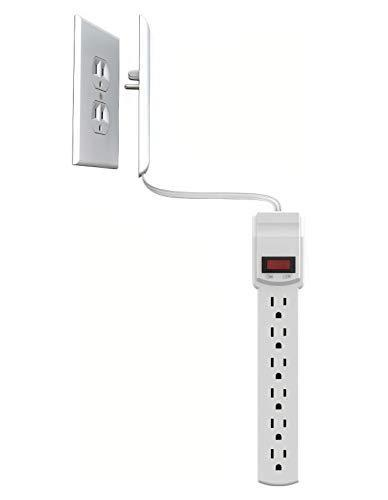 Sleek Socket Ultra-Thin Electrical Outlet Cover with Surge Protector 6 Outlet Power Strip and C…