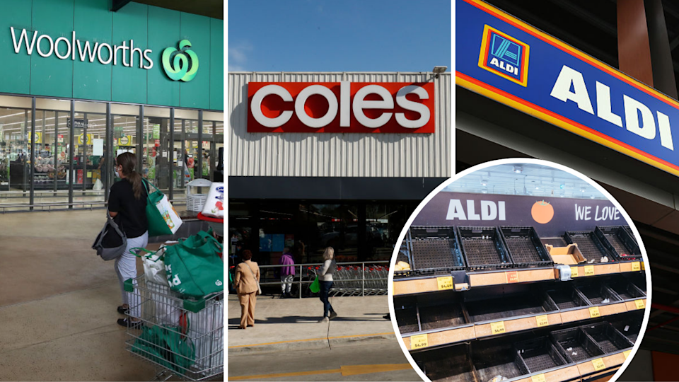 Image of Woolworths, Coles, Aldi supermarkets, with empty Aldi shelves