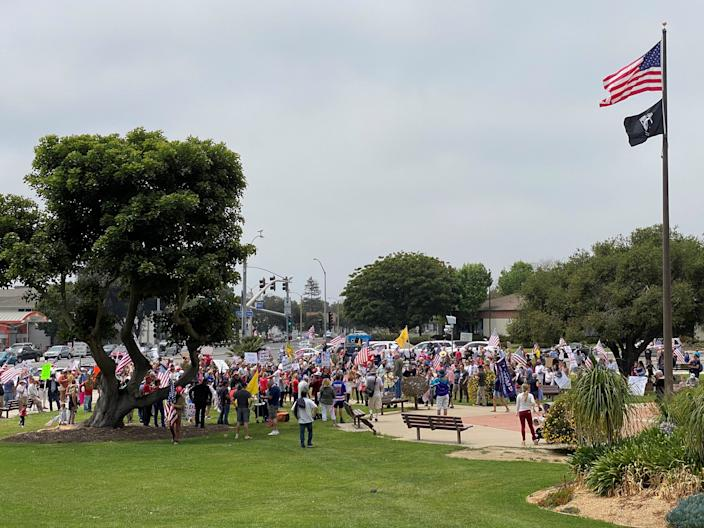 Protesters gather along the lawn of the Ventura County Government Center on May 9, 2020, to support fully reopening California from coronavirus restrictions, the second such rally in a little more than a week.