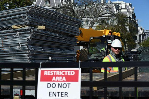PHOTO: Workers move a stack of fencing near a security checkpoint on the South side of the White House, the day before the presidential election, in Washington, Nov. 2, 2020. (Erin Scott/Reuters)