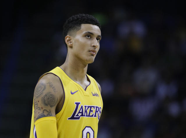 "<a class=""link rapid-noclick-resp"" href=""/nba/teams/lal/"" data-ylk=""slk:Los Angeles Lakers"">Los Angeles Lakers</a> rookie <a class=""link rapid-noclick-resp"" href=""/ncaab/players/126328/"" data-ylk=""slk:Kyle Kuzma"">Kyle Kuzma</a> has forced his way into fantasy draft conversations with a strong preseason. (AP Photo/Jae C. Hong)"
