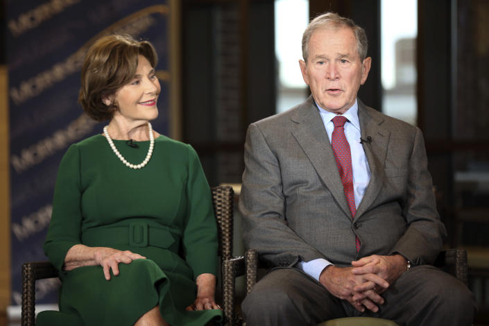 Former President George W. Bush and former first lady Laura Bush are interviewed at the George W. Bush Presidential Library in Dallas on Wednesday. (Photo: Brandon Wade/AP)