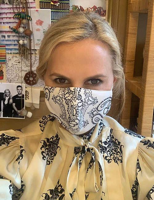 tory burch face mask covering damask white