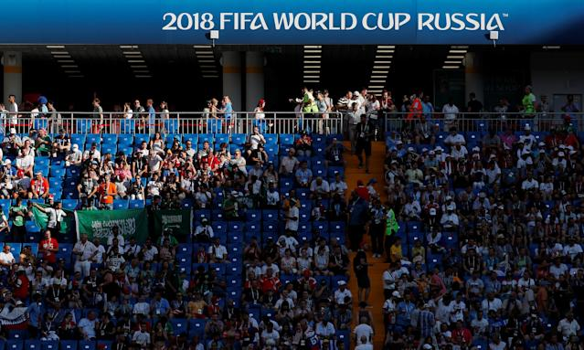 Soccer Football - World Cup - Group A - Uruguay vs Saudi Arabia - Rostov Arena, Rostov-on-Don, Russia - June 20, 2018 Uruguay and Saudi Arabia fans inside the stadium before the match REUTERS/Max Rossi