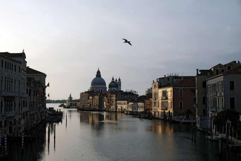 A view of an empty Grand Canal as Italy eases some of the lockdown measures put in place during the coronavirus disease (COVID-19) outbreak in Venice