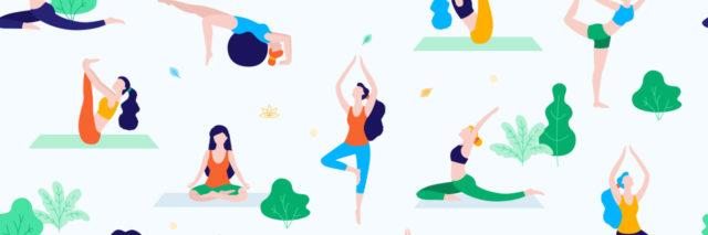 Women walk in the park and do sports, yoga and physical exercises