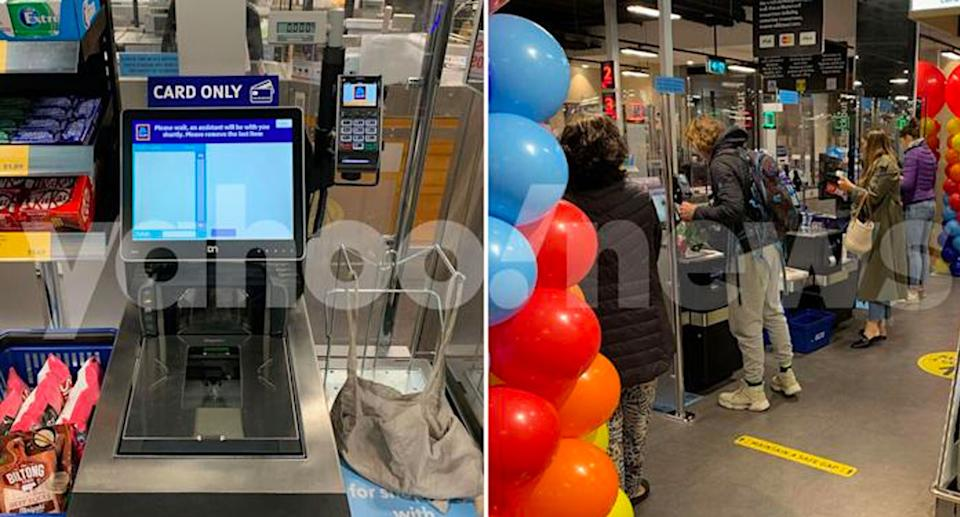 Aldi rolled out its self-service checkouts in Darlinghurst on Wednesday. Source: Yahoo News Australia