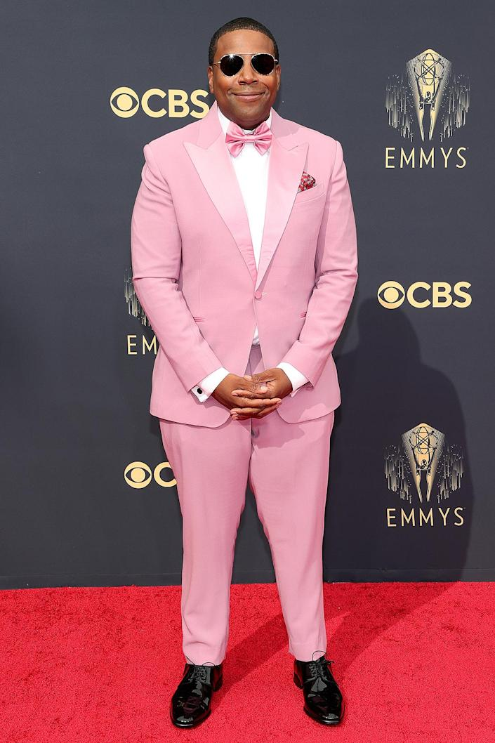 <p>Thompson, who is nominated for both outstanding lead actor and supporting actor in a comedy series, went with a bold pink tux and matching bow tie. </p>
