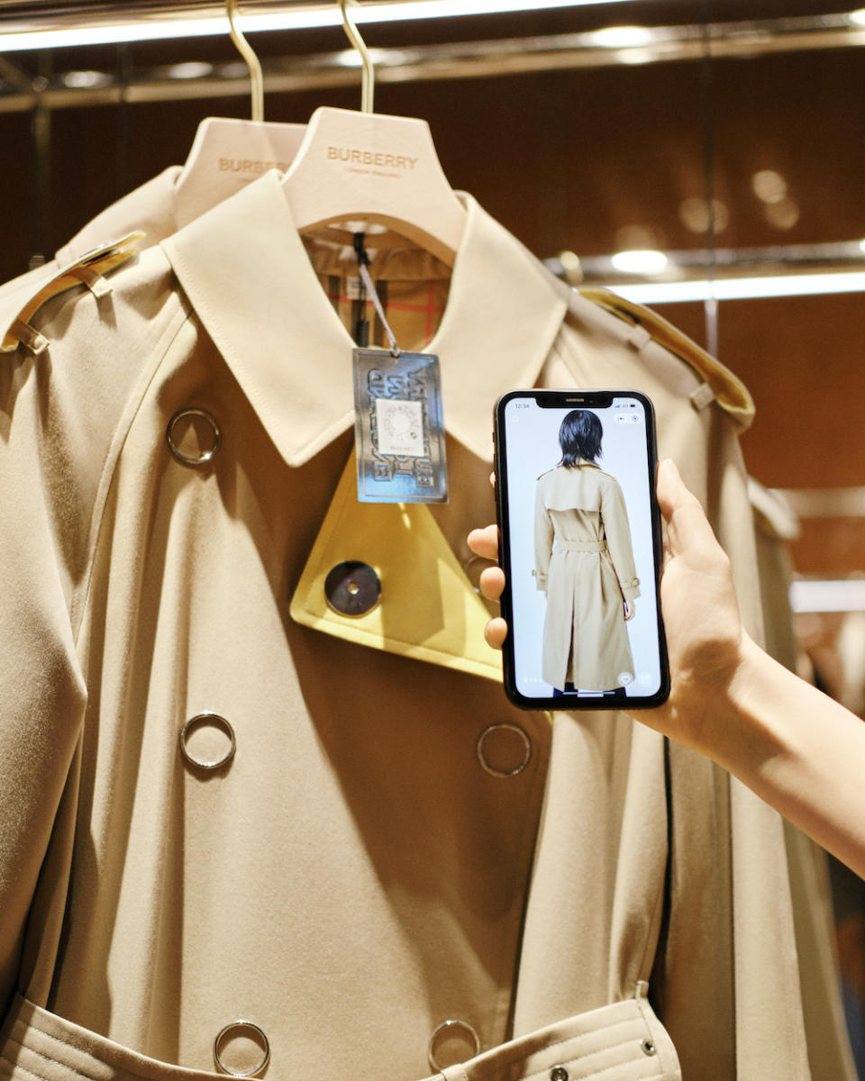 Scanning the QR code unlocks product features. (PHOTO: Burberry)