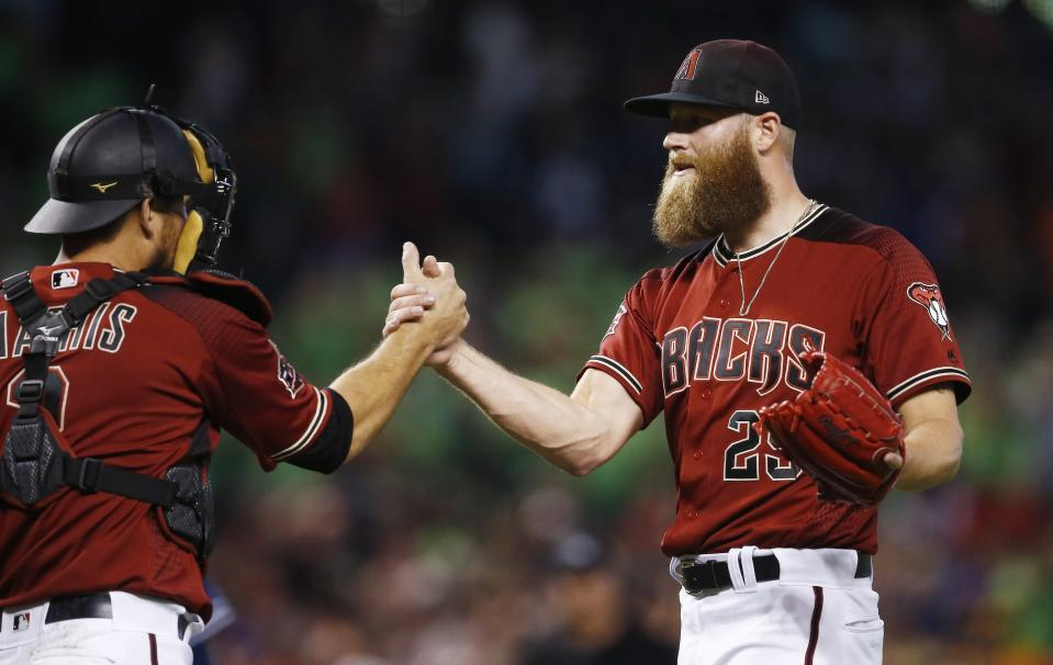 Archie Bradley got a couple packages of Dude Wipes after sharing a story about pooping his pants. (AP Photo)