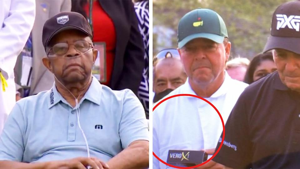 Wayne Player (pictured right in white) holding golf balls and Lee Elders' (pictured left) during a presentation at the Masters.