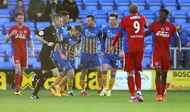 Soccer Football - FA Cup First Round - Shrewsbury Town vs Aldershot Town - New Meadow, Shrewsbury, Britain - November 4, 2017 Shrewsbury Town's Shaun Whalley (2nd R) celebrates scoring their second goal Action Images/John Clifton