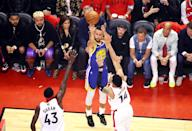 Stephen Curry #30 of the Golden State Warriors attempts a jump shot against the Toronto Raptors in the first half during Game Five of the 2019 NBA Finals at Scotiabank Arena on June 10, 2019 in Toronto, Canada. (Photo by Gregory Shamus/Getty Images)